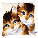 Coussin au point de croix chatons - 4