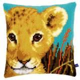 Coussin au point de croix lion cub - 4