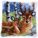 Kit coussin au point noué cerf dans la neige - 4