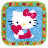 Tapis kit au point noué Hello Kitty avec coeur - 4