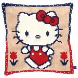 Coussin au pt de croix Hello Kitty en promenade - 4
