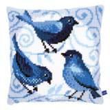 Coussin au point de croix oiseaux bleus - 4