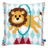 Coussin au point de croix circus lion - 4