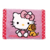 tapis au point noué hello kitty avec un chien - 4