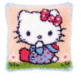coussin au point noué hello kitty sur l'herbe - 4