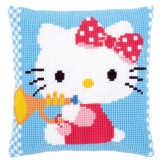 Coussin au point de croix hello kitty & trompette - 4