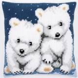 Coussin au point de croix oursons polaires - 4