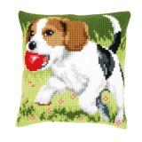 Coussin au point de croix beagle - 4