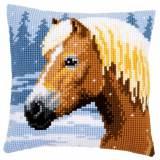 Kit coussin au point de croix cheval sous la neige - 4