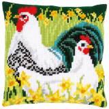 Kit coussin au point de croix coq et poule - 4