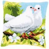 Kit coussin au point de croix pigeons blancs - 4