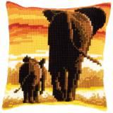Coussin au point de croix eléphants - 4