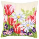 Kit coussin au point de croix fleurs printemps - 4