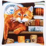 Coussin au point de croix chat & livres - 4