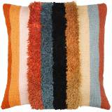 Coussin point noué chainette rayures 40x40cm - 4
