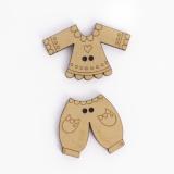 Bouton en bois vêtements enfants (5 ens) - 408
