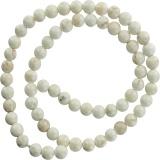 Perle turquoise blanche 6mm sur fil de 40cm - 408