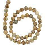 Perle jaspe paysage rondes 8mm sur fil de 40cm - 408