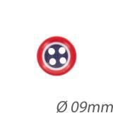 Bouton bleu blanc rouge 09mm - 408
