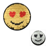 Patch paillette réversible smiley Ø 8cm - 408