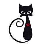 Thermocollant chat cœur rouge  hauteur 7,5 cm - 408