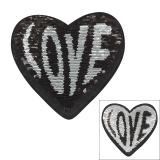 Motif paillette réversible coeur love noir - 408