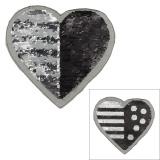 Motif paillette réversible cœur gris/noir - 408
