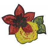 Thermocollant fleur et broderie 16x13,5cm - 408