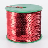 Galon paillette 6mm 100 yards (91m40) rouge - 437