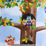 Tissu quilting treasures owl in the family