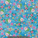 Tissu quilting treasures Flowers bleu - 462