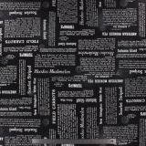 Tissu quilting treasures Newsprint noir