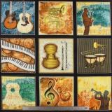 Tissu quilting treasures Musical patch creme