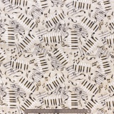 Tissu quilting treasures Piano notes gris