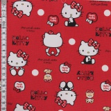 Tissu Hello Kitty bear dot rouge - 468