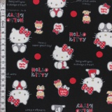 Tissu Hello Kitty bear dot noir - 468