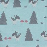 Tissu molleton sweat bambi turquoise 180cm - 468