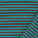 Tissu jacquard Kiyohara rayé marron/turquoise - 468