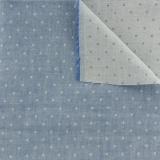 Tissu double gaze chambray à pois bleu jean - 468