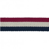 Sangle rouge/écru/marine 38mm 100%polyester - 468