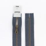 Zipper métal coton délavé jeans - 20cm x2 - 468