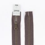 Zipper métal coton délavé marron - 20cm x2 - 468