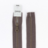 Zipper métal coton délavé marron - 40cm x2 - 468