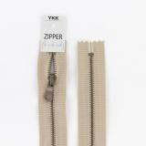 Zipper métal coton délavé beige - 40cm x2 - 468