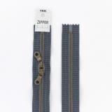 Zipper métal coton délavé jeans - 60cm x2 - 468