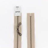 Zipper métal coton délavé beige - 60cm x2 - 468