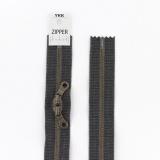 Zipper métal coton délavé gris foncé- 60cm x2 - 468