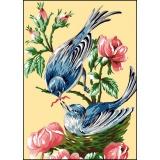Canevas antique 32/50 planche de 2 oiseaux - 47