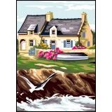 Canevas antique 32/50 planche de 2 maison bretonne - 47