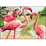 Canevas antique 32/50 x 2 les flamants rose - 47